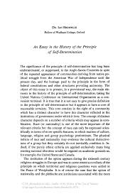an essay in the history of the principle of self determination inside