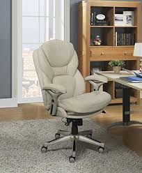 A Serta Works Executive Office Chair With Back In Motion Technology Inspired  Ivory Bonded Leather