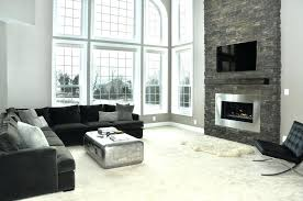 stone fireplace wall living room cool high ceiling living room with l shape sofa long also