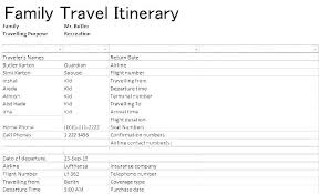 Printable Itinerary Travel Sample Doc Of Templates Vacation Template