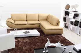 beige leather sectional sofa design for modern living room with white wood coffee table furniture ideas