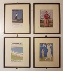 vintage railway travel golf framed posters set o 4