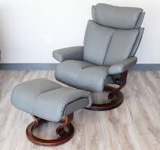 grey leather recliner. Stressless Magic Paloma Metal Grey Color Leather Recliner And Ottoman Y