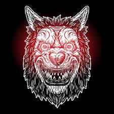 Fototapeta Wolf Blackwork Tetování Flash Koncept Izolovaných Na Bílém Rozzlobená