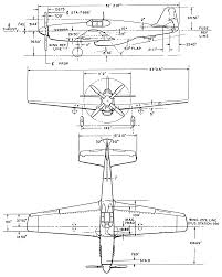 Three view drawing p 51 mustang image lineart
