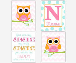owl baby girl nursery wall art pink orange aqua girl room wall decor baby nursery decor owl wall decor personalize name art girl nursery owl love birds set  on personal wall art baby name with buy baby girl nursery wall art pink gray elephants personalized name