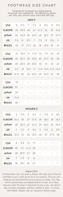 Timberland Women S Shoes Size Chart Timberland Size Chart