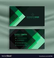 Green Card Template Abstract Green Dark Theme Business Card Template Vector Image