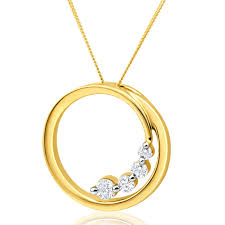 flawless cut 9ct yellow gold diamond open circle pendant with chain tw 1