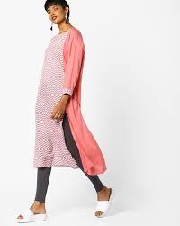 project eve iw cal pink straight chevron print straight kurta