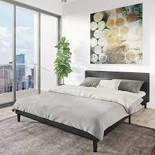 low queen bed frame.  Bed Amazoncom Manhattan Queen Bed Frame  Modern Style Low Profile Headboard   Platform Bedframe Upholstered Bedroom Mattress Furniture Soft Wood  For