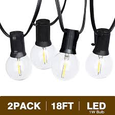 15 Count Led Commercial Style Globe Lights Svater Globe Led String Lights 2x18ft 10 Hanging Socket With 2x10 G40 Vintage Led Bulbs 1w 2700k Warm White No Dimmable Ip45 Waterproof Indoor Outdoor
