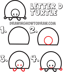 Small Picture how to draw cartoon turtles from the uppercase letter D shape