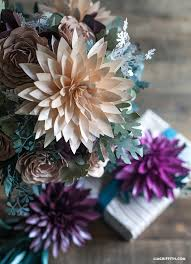 Dahlia Flower Making With Paper Make Metallic Paper Dahlias Seeded Eucalyptus For Fall