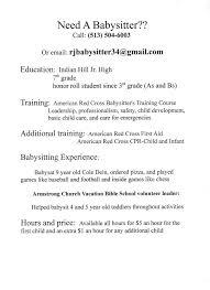 Sample Resume For Babysitter Babysitting Experience On Resume Babysitting Experience Resume 17