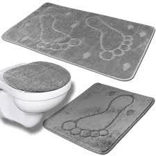3tlg Badezimmer Set Grau Teppich Badvorleger Real
