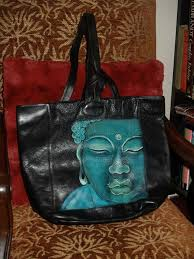 custom hand painted leather buddha handbag purse