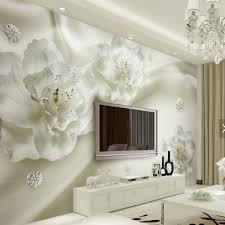 3d Reliëf Witte Bloem Muurschildering Foto Behang Voor Woonkamer