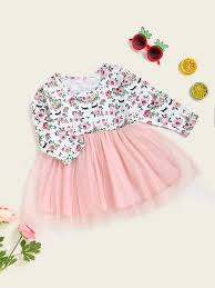 Shein Baby Clothes Size Chart Baby Girl Mesh Panel Floral A Line Dress