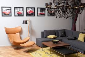 Living Room Lounge Chairs Double Beige Fabric Lounge Chairs And Lcd Tv On White Wooden Wall