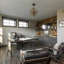 office barn. vintage industrial home office with jute rope chandelier barn
