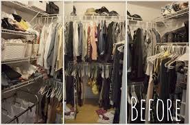 three views of my disorganized closet before i took on the 40 hanger closet plan