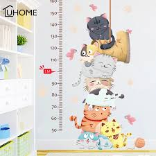 Cartoon Cat Animals Measure Wall Stickers For Kids Rooms