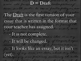 take out book and for ssr take out book and for ssr  d draft the draft is the first version of your essay that is written in