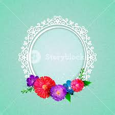 Paper Flower Frame Oval Shaped Floral Frame Design With Colorful Paper Flowers