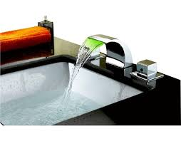 waterfall sink faucet. Beautiful Waterfall Widespread LED Waterfall Bathroom Sink Faucet On N