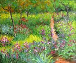 claude monet iris garden at giverny repro hand painted oil painting 20x24in 2