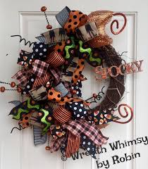 Halloween Grapevine Deco Mesh Ribbon Wreath with