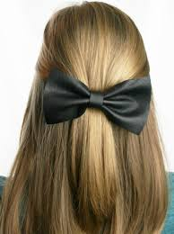 tan large leather hair bow genuine leather barrette black gray