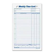 Weekly Time Record Pcm Tops Business Forms Weekly Time Card 3016