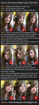 zooey deschanel half updo hair tutorial