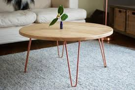 Metal coffee table legs steel hairpin dining table furniture desk console table. Coffee Table Round Copper Hairpin Legs Reclaimed Oak 7magok Etsy