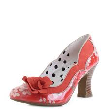 Details About Womens Ruby Shoo Viola Coral Orange Floral High Heel Shoes Shu Size