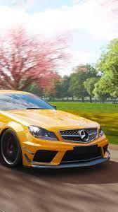 Mercedes-Benz AMG C63 yellow car, speed ...