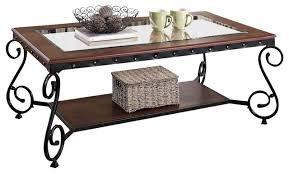 cherry beading design metal frame glass top wood shelf coffee table
