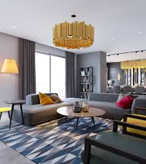 apartment medium size stunning gold chandelier over round coffee table also trendy geometric living room rug
