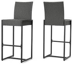 conrad outdoor patio gray wicker barstools set of 2