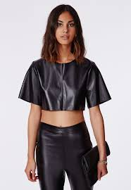 missguided faux leather crop top in black