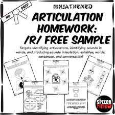 Speech Sample Interesting Ninja Themed Articulation Homework For R Free Sample By The Speech Ninja