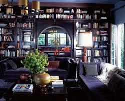 custom home library design for additional room yellow chandelier dark purple sofas