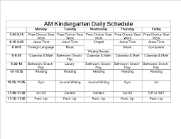 Schedule Word Kindergarten Daily Schedule Word Templates At