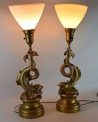 torchiere table lamp. 2 Of 12 Brass Koi Torchiere Table Lamp Set Metal Gold Vintage Antique Fish Pair O