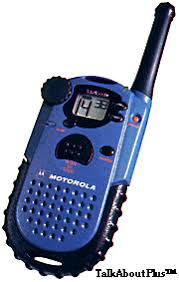 motorola talkabout. uses three aa batteries (not included). motorola talkabout r