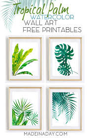 tropical palm watercolor printables for your home