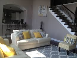 Yellow Living Room Chair Yellow And Gray Living Room Trellis Rug Chevron Pillows Trellis