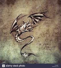 Funny Little Dragon Sketch Of Tattoo Art Stylish Fantasy Monster